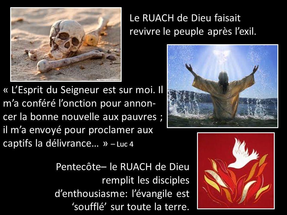 Le RUACH de Dieu faisait revivre le peuple après l'exil. Pentecôte– le RUACH de Dieu remplit les disciples d'enthousiasme: l'évangile est 'soufflé' su
