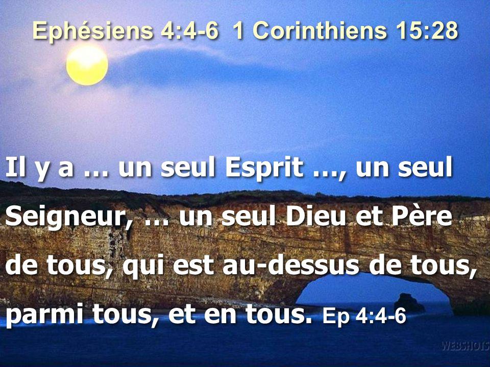 Ephésiens 4:4-6 1 Corinthiens 15:28 Il y a … un seul Esprit …, un seul Seigneur, … un seul Dieu et Père de tous, qui est au-dessus de tous, parmi tous, et en tous.