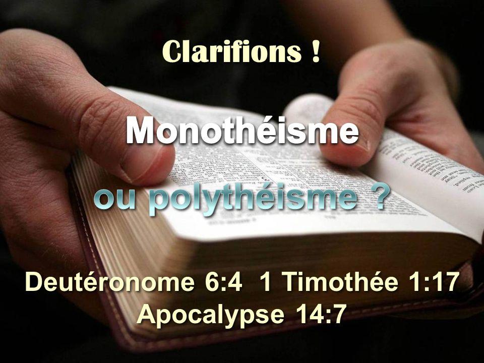 Deutéronome 6:4 1 Timothée 1:17 Apocalypse 14:7 Clarifions !