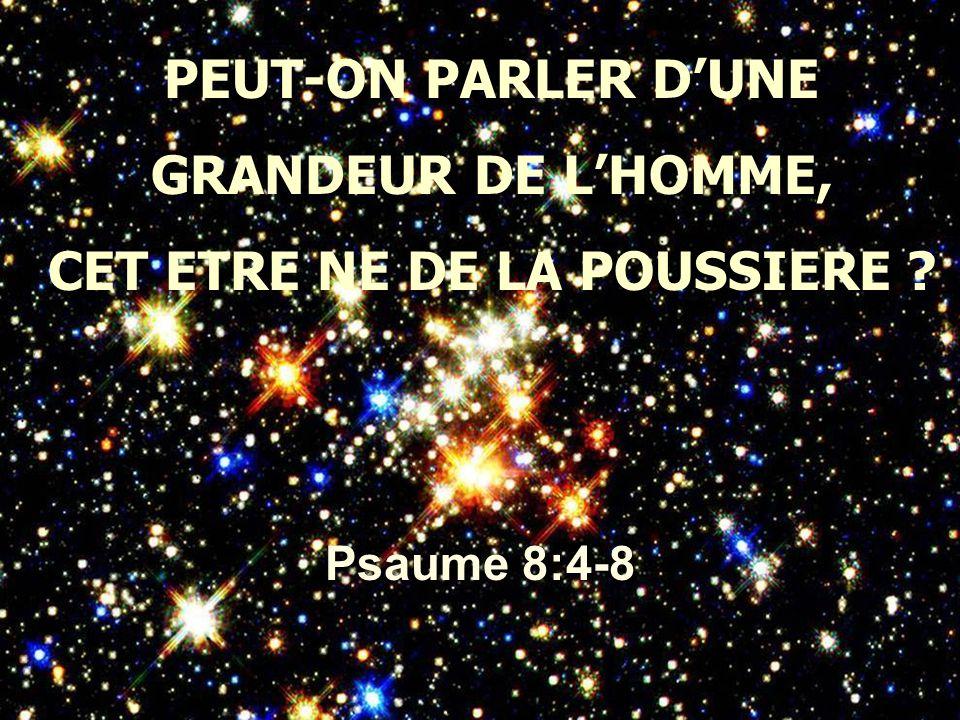 PEUT-ON PARLER D'UNE GRANDEUR DE L'HOMME, CET ETRE NE DE LA POUSSIERE ? Psaume 8:4-8