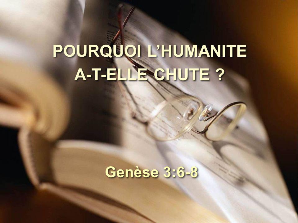 POURQUOI L'HUMANITE A-T-ELLE CHUTE ? Genèse 3:6-8