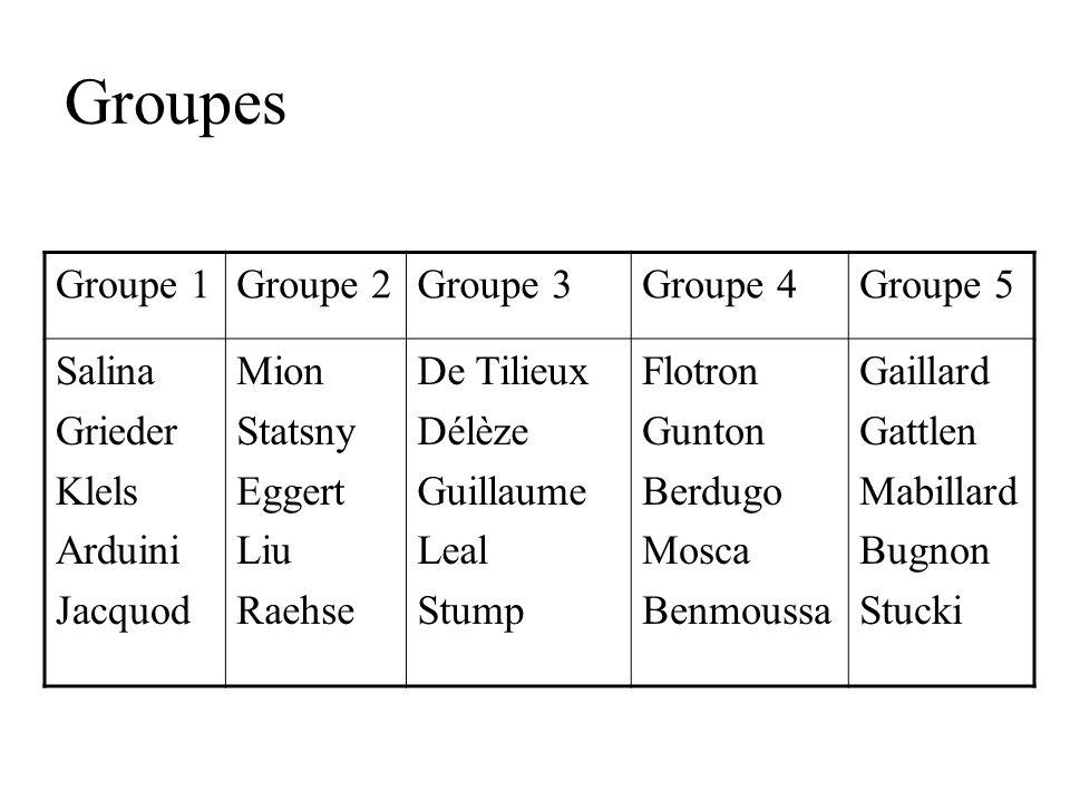 Groupes Groupe 1Groupe 2Groupe 3Groupe 4Groupe 5 Salina Grieder Klels Arduini Jacquod Mion Statsny Eggert Liu Raehse De Tilieux Délèze Guillaume Leal