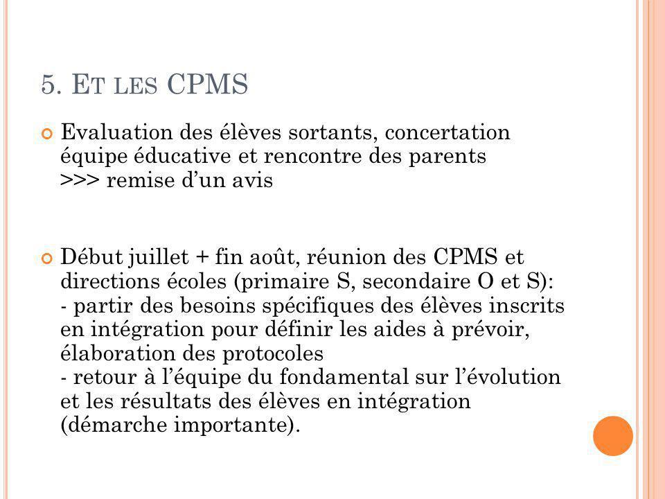 5. E T LES CPMS Evaluation des élèves sortants, concertation équipe éducative et rencontre des parents >>> remise d'un avis Début juillet + fin août,