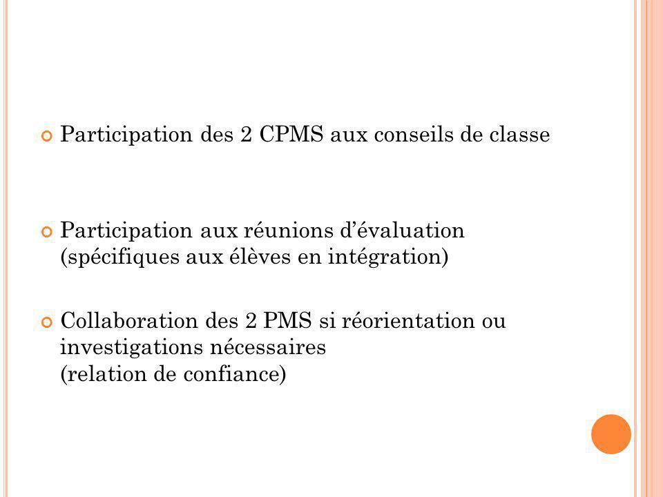 Participation des 2 CPMS aux conseils de classe Participation aux réunions d'évaluation (spécifiques aux élèves en intégration) Collaboration des 2 PMS si réorientation ou investigations nécessaires (relation de confiance)