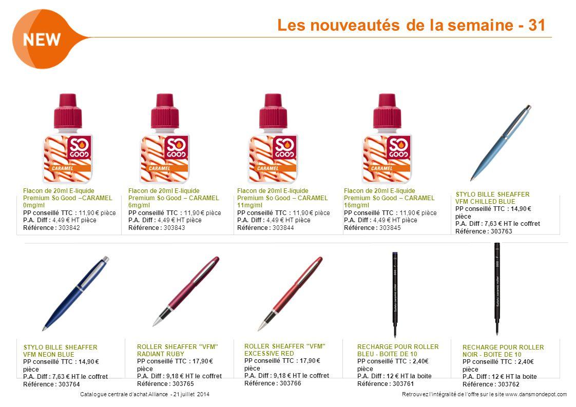 Catalogue centrale d'achat Alliance - 21 juillet 2014Retrouvez l'intégralité de l'offre sur le site www.dansmondepot.com Flacon de 20ml E-liquide Prem