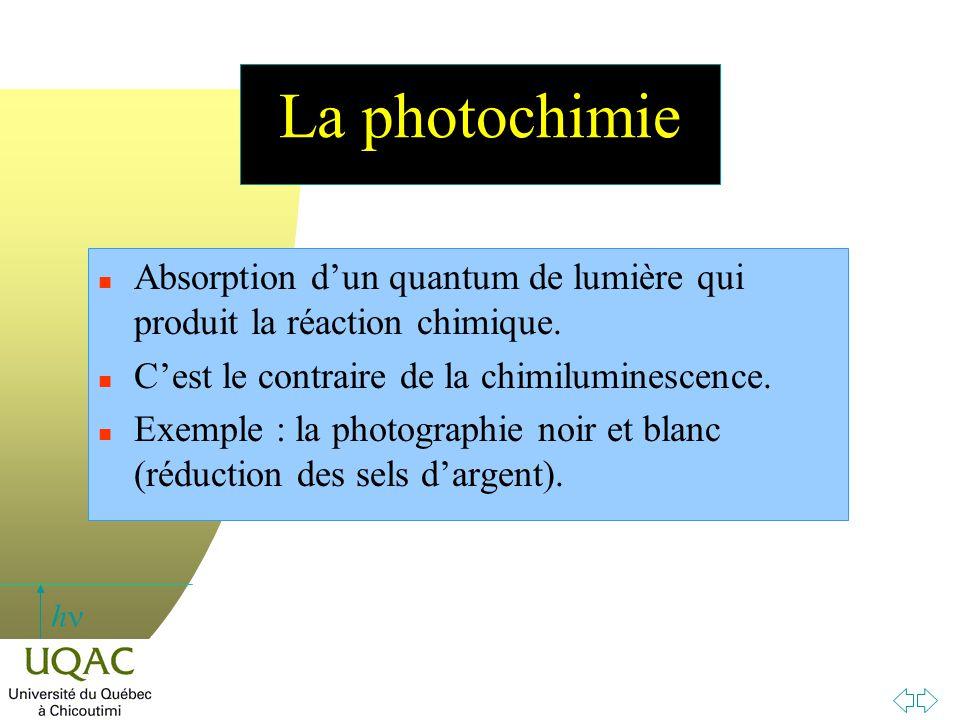 h La photochimie n Absorption d'un quantum de lumière qui produit la réaction chimique. n C'est le contraire de la chimiluminescence. n Exemple : la p