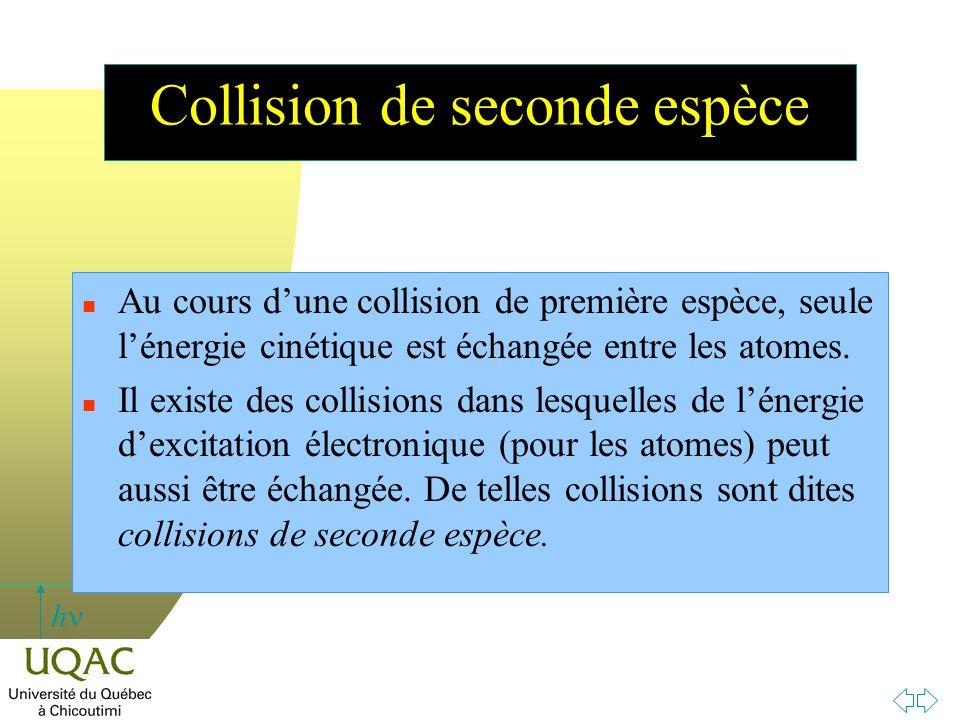 h Collision de seconde espèce n Au cours d'une collision de première espèce, seule l'énergie cinétique est échangée entre les atomes. n Il existe des