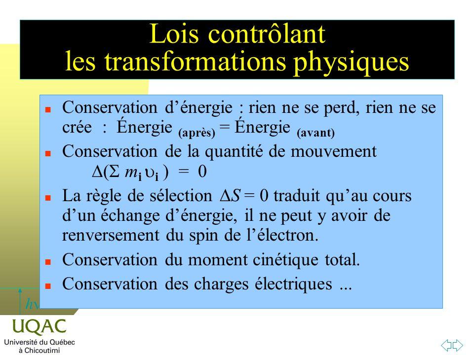 h Lois contrôlant les transformations physiques n Conservation d'énergie : rien ne se perd, rien ne se crée : Énergie (après) = Énergie (avant) Conser