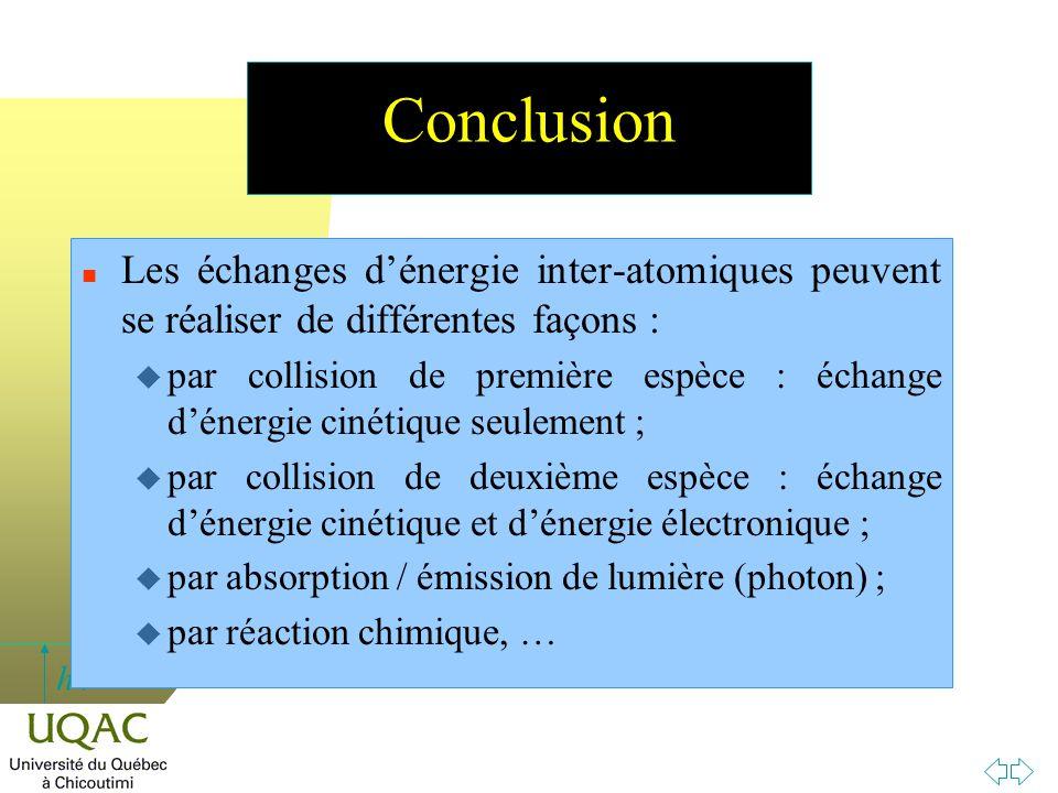 h Conclusion n Les échanges d'énergie inter-atomiques peuvent se réaliser de différentes façons :  par collision de première espèce : échange d'énerg