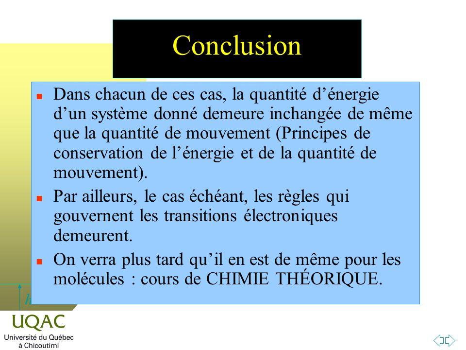h Conclusion n Dans chacun de ces cas, la quantité d'énergie d'un système donné demeure inchangée de même que la quantité de mouvement (Principes de c