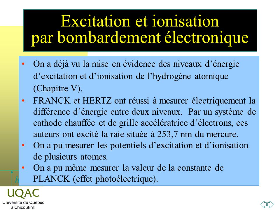 h Excitation et ionisation par bombardement électronique On a déjà vu la mise en évidence des niveaux d'énergie d'excitation et d'ionisation de l'hydr