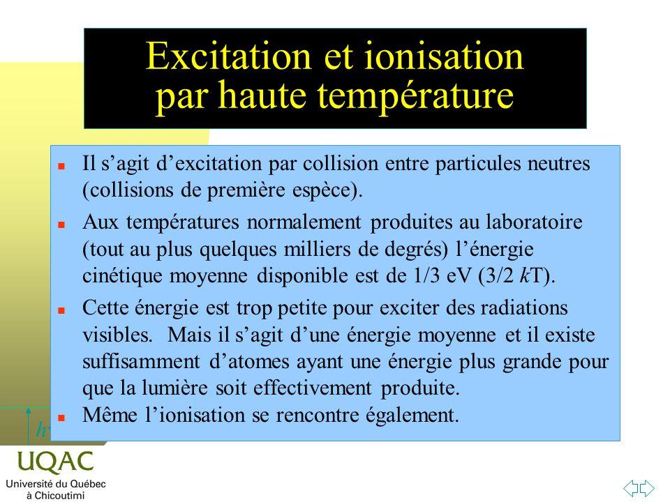 h Excitation et ionisation par haute température n Il s'agit d'excitation par collision entre particules neutres (collisions de première espèce). n Au