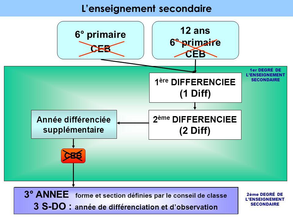 L'enseignement secondaire 12 ans 6° primaire CEB 6° primaire CEB 1er DEGRÉ DE L'ENSEIGNEMENT SECONDAIRE 1 ère DIFFERENCIEE (1 Diff) 2 ème DIFFERENCIEE