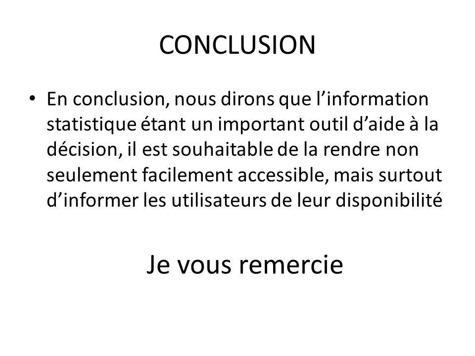 CONCLUSION En conclusion, nous dirons que l'information statistique étant un important outil d'aide à la décision, il est souhaitable de la rendre non