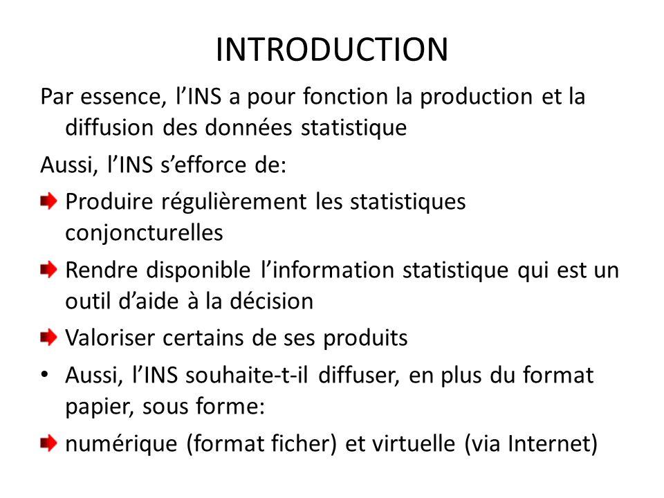 INTRODUCTION Par essence, l'INS a pour fonction la production et la diffusion des données statistique Aussi, l'INS s'efforce de: Produire régulièremen