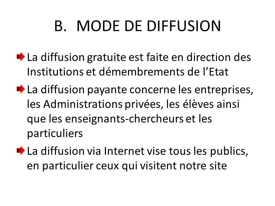 B.MODE DE DIFFUSION La diffusion gratuite est faite en direction des Institutions et démembrements de l'Etat La diffusion payante concerne les entrepr