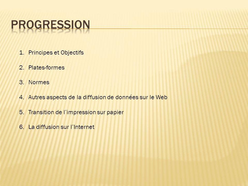 1.Principes et Objectifs 2.Plates-formes 3.Normes 4.Autres aspects de la diffusion de données sur le Web 5.Transition de l'impression sur papier 6.La