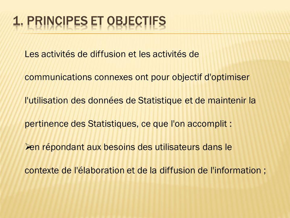 Les activités de diffusion et les activités de communications connexes ont pour objectif d'optimiser l'utilisation des données de Statistique et de ma