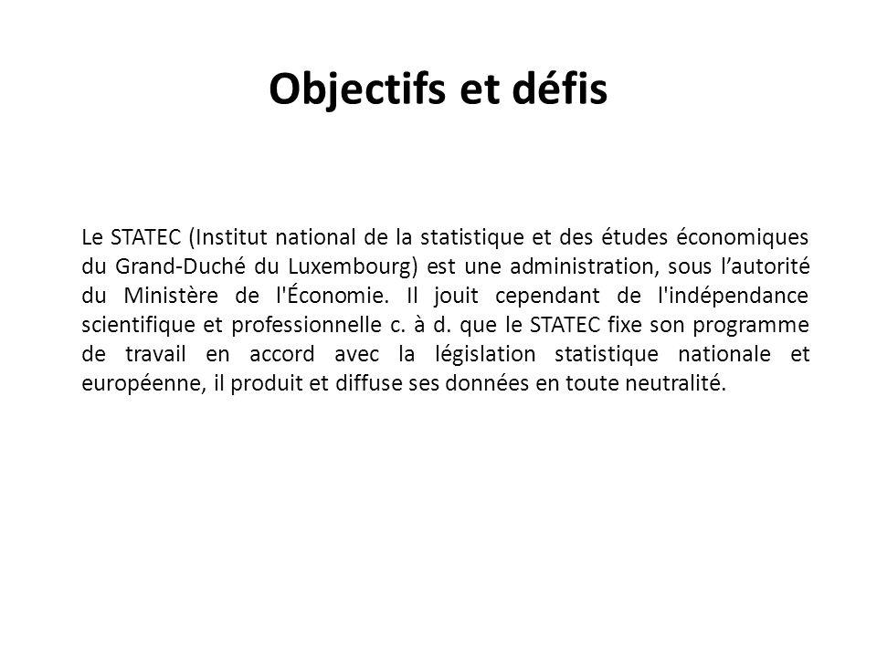 Objectifs et défis Le STATEC (Institut national de la statistique et des études économiques du Grand-Duché du Luxembourg) est une administration, sous l'autorité du Ministère de l Économie.