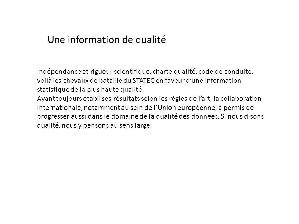 Une information de qualité Indépendance et rigueur scientifique, charte qualité, code de conduite, voilà les chevaux de bataille du STATEC en faveur d