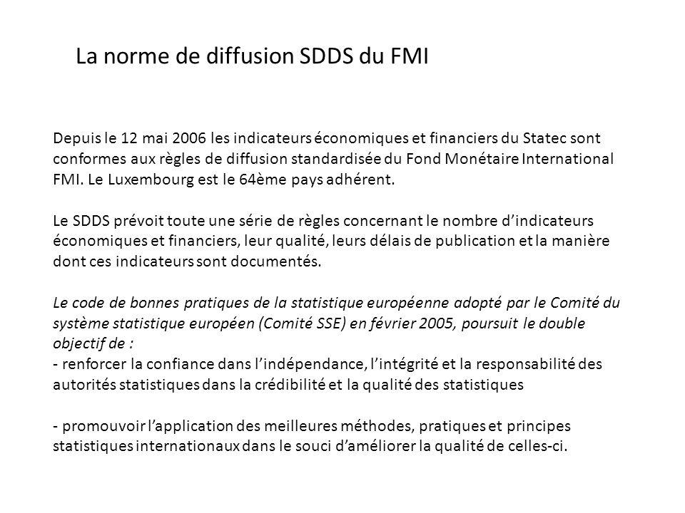 La norme de diffusion SDDS du FMI Depuis le 12 mai 2006 les indicateurs économiques et financiers du Statec sont conformes aux règles de diffusion standardisée du Fond Monétaire International FMI.