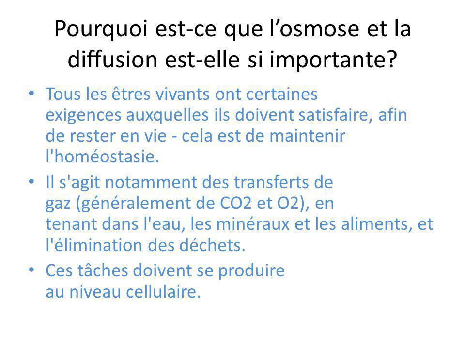 Pourquoi est-ce que l'osmose et la diffusion est-elle si importante? Tous les êtres vivants ont certaines exigences auxquelles ils doivent satisfaire,