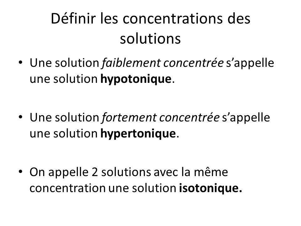 Définir les concentrations des solutions Une solution faiblement concentrée s'appelle une solution hypotonique. Une solution fortement concentrée s'ap