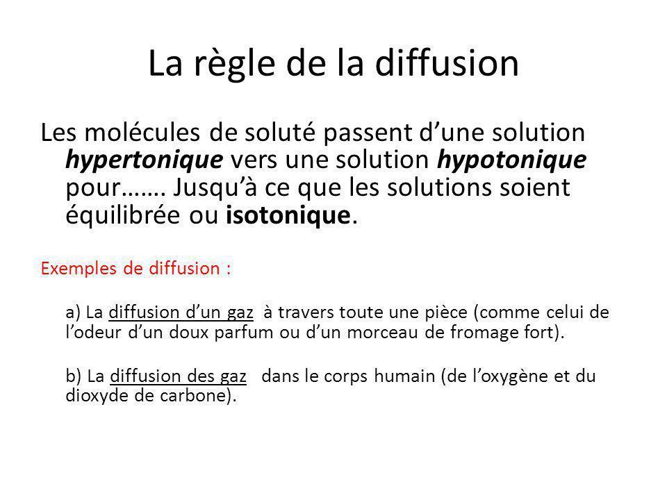 La règle de la diffusion Les molécules de soluté passent d'une solution hypertonique vers une solution hypotonique pour……. Jusqu'à ce que les solution