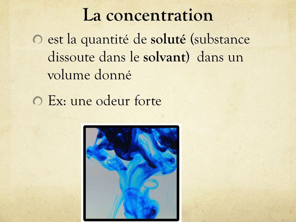 La concentration est la quantité de soluté (substance dissoute dans le solvant ) dans un volume donné Ex: une odeur forte