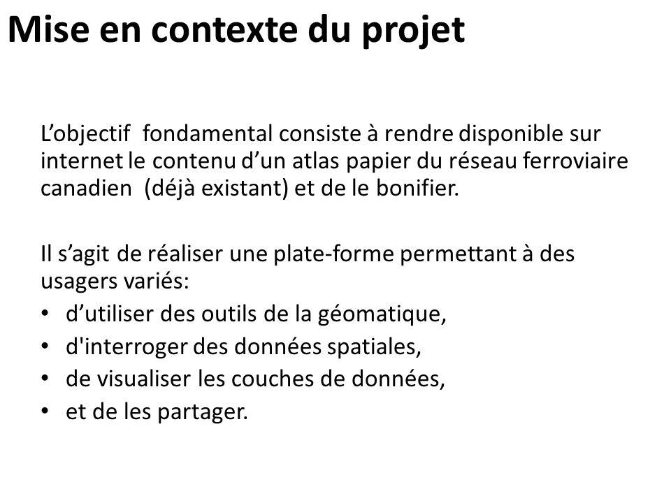 Mise en contexte du projet L'objectif fondamental consiste à rendre disponible sur internet le contenu d'un atlas papier du réseau ferroviaire canadie