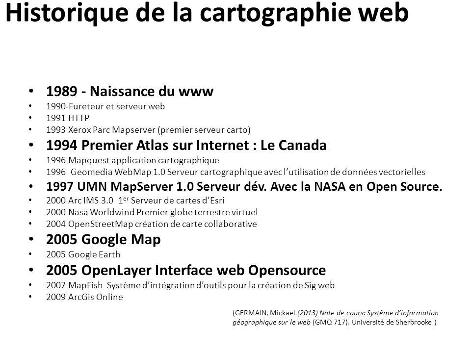 Historique de la cartographie web 1989 - Naissance du www 1990-Fureteur et serveur web 1991 HTTP 1993 Xerox Parc Mapserver (premier serveur carto) 199