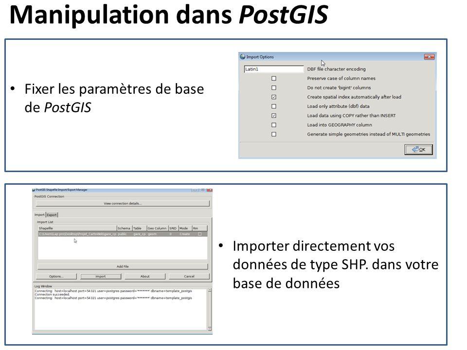 Manipulation dans PostGIS Fixer les paramètres de base de PostGIS Importer directement vos données de type SHP. dans votre base de données