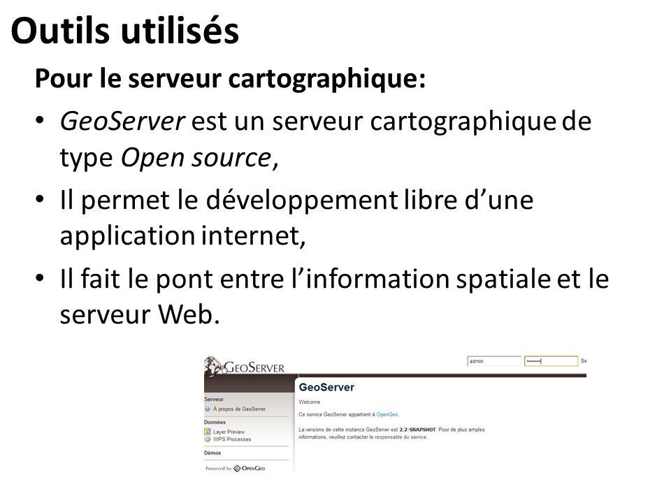 Outils utilisés Pour le serveur cartographique: GeoServer est un serveur cartographique de type Open source, Il permet le développement libre d'une ap