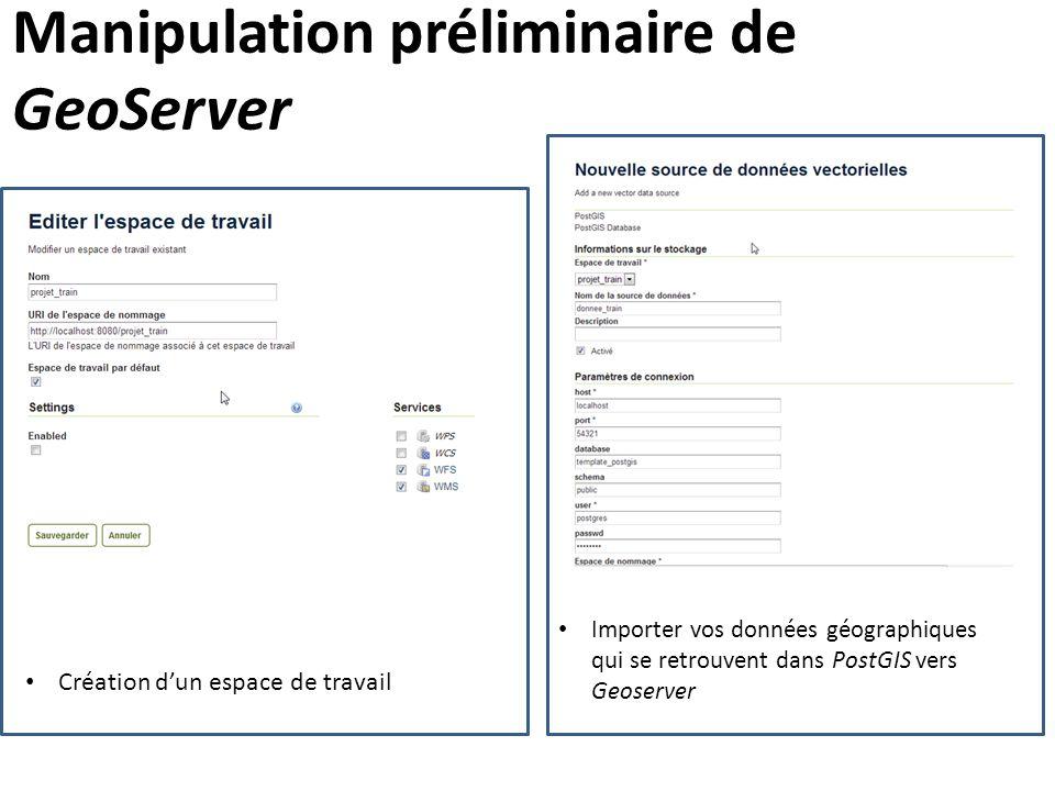 Manipulation préliminaire de GeoServer Importer vos données géographiques qui se retrouvent dans PostGIS vers Geoserver Création d'un espace de travai