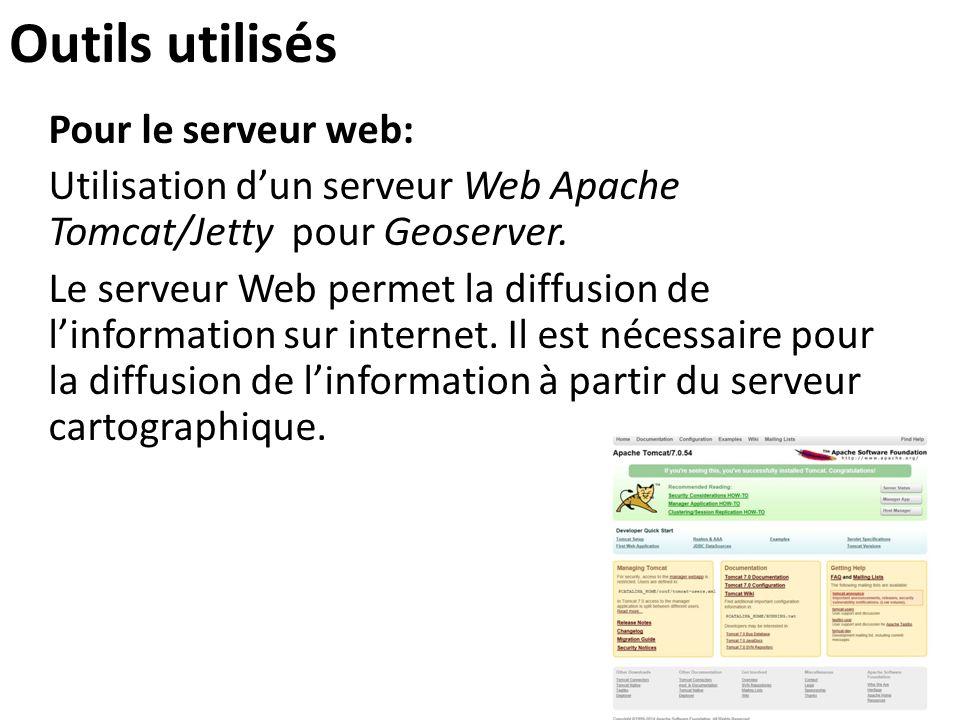 Outils utilisés Pour le serveur web: Utilisation d'un serveur Web Apache Tomcat/Jetty pour Geoserver. Le serveur Web permet la diffusion de l'informat