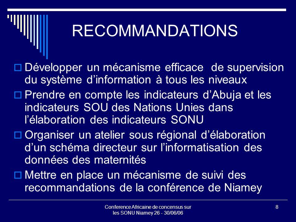 Conference Africaine de concensus sur les SONU Niamey 26 - 30/06/06 8 RECOMMANDATIONS  Développer un mécanisme efficace de supervision du système d'information à tous les niveaux  Prendre en compte les indicateurs d'Abuja et les indicateurs SOU des Nations Unies dans l'élaboration des indicateurs SONU  Organiser un atelier sous régional d'élaboration d'un schéma directeur sur l'informatisation des données des maternités  Mettre en place un mécanisme de suivi des recommandations de la conférence de Niamey