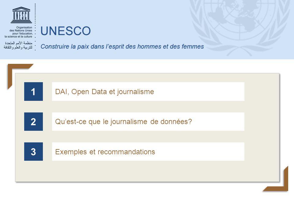 1 2 3 DAI, Open Data et journalisme Qu'est-ce que le journalisme de données? Exemples et recommandations