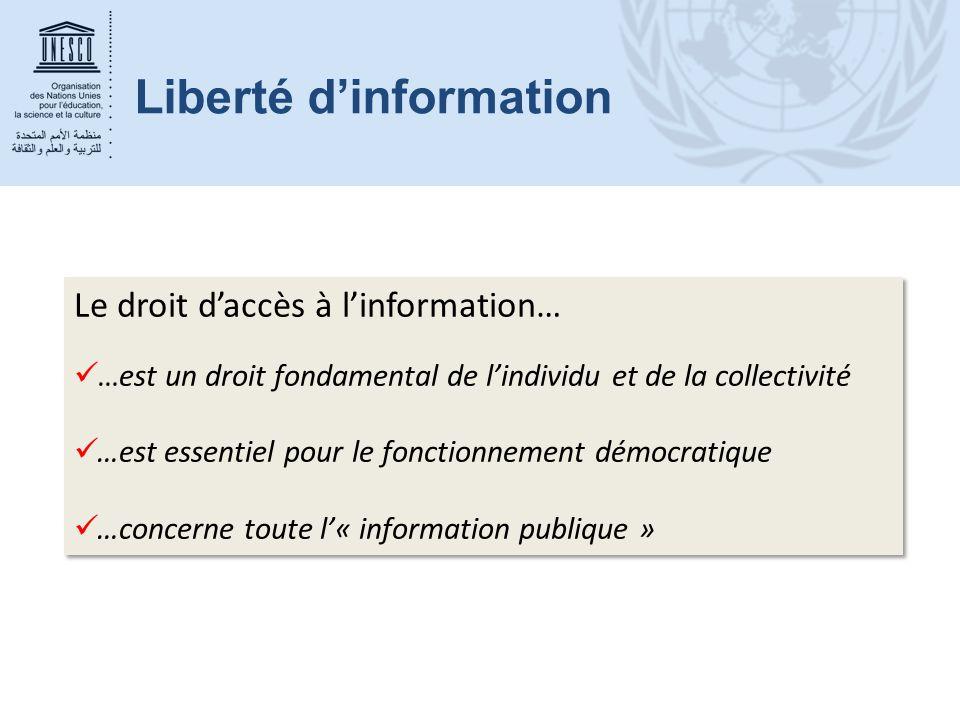 Le droit d'accès à l'information… …est un droit fondamental de l'individu et de la collectivité …est essentiel pour le fonctionnement démocratique …co