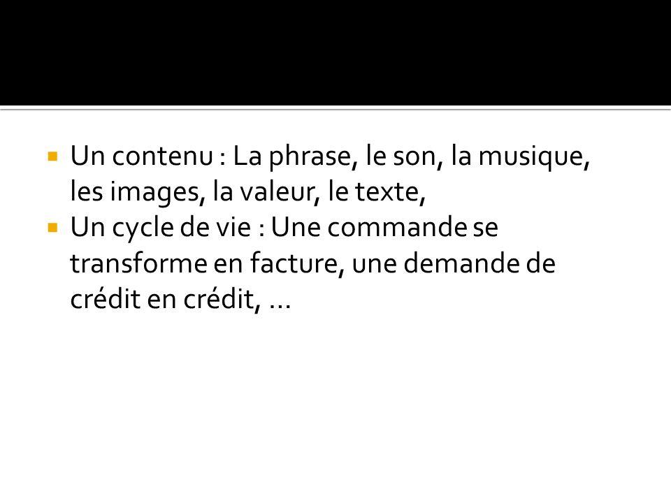  Un contenu : La phrase, le son, la musique, les images, la valeur, le texte,  Un cycle de vie : Une commande se transforme en facture, une demande de crédit en crédit, …