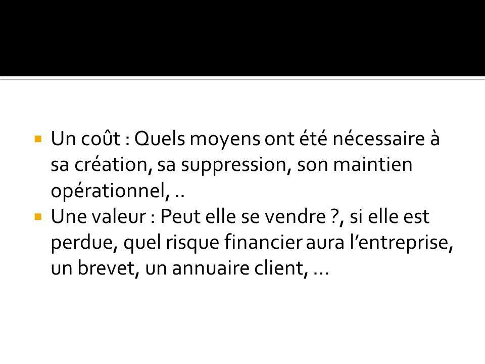  Un coût : Quels moyens ont été nécessaire à sa création, sa suppression, son maintien opérationnel,..  Une valeur : Peut elle se vendre ?, si elle