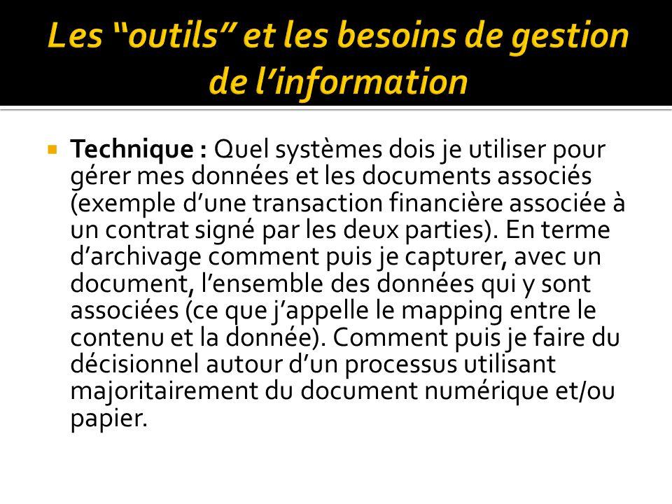  Technique : Quel systèmes dois je utiliser pour gérer mes données et les documents associés (exemple d'une transaction financière associée à un cont