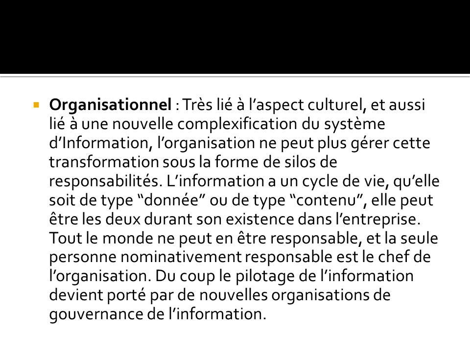  Organisationnel : Très lié à l'aspect culturel, et aussi lié à une nouvelle complexification du système d'Information, l'organisation ne peut plus gérer cette transformation sous la forme de silos de responsabilités.