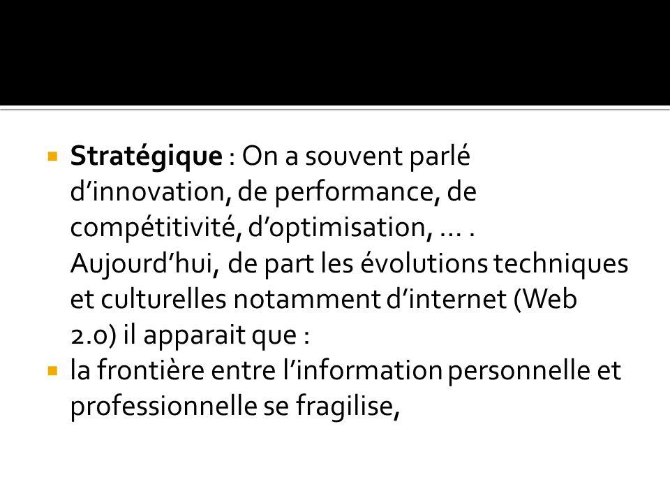  Stratégique : On a souvent parlé d'innovation, de performance, de compétitivité, d'optimisation, ….