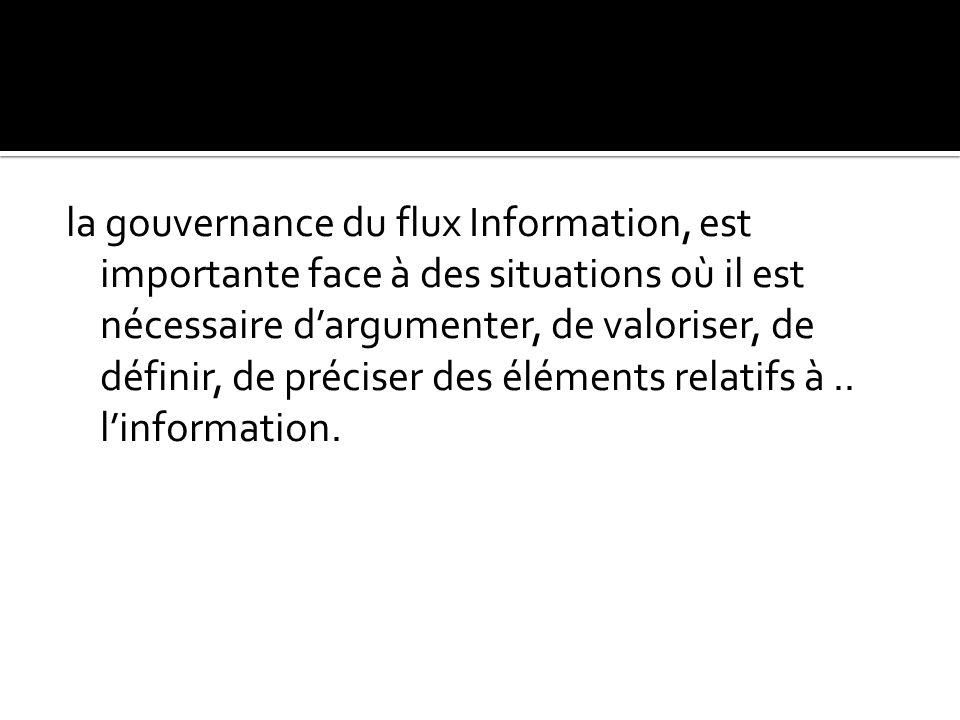 la gouvernance du flux Information, est importante face à des situations où il est nécessaire d'argumenter, de valoriser, de définir, de préciser des éléments relatifs à..