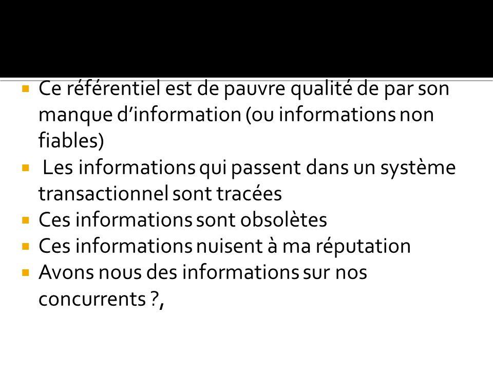  Ce référentiel est de pauvre qualité de par son manque d'information (ou informations non fiables)  Les informations qui passent dans un système tr