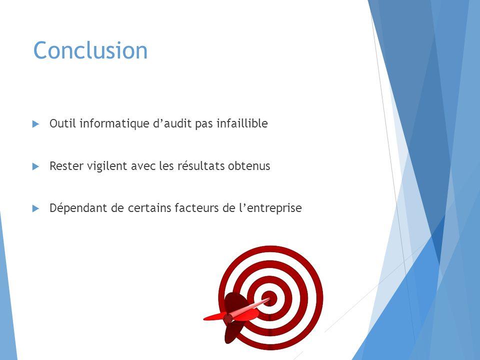 Conclusion  Outil informatique d'audit pas infaillible  Rester vigilent avec les résultats obtenus  Dépendant de certains facteurs de l'entreprise