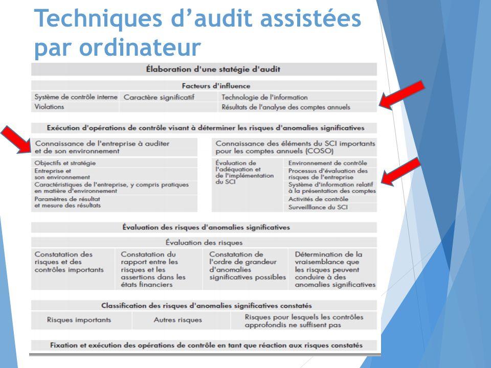 Techniques d'audit assistées par ordinateur  base d'audit, voir schéma résumé