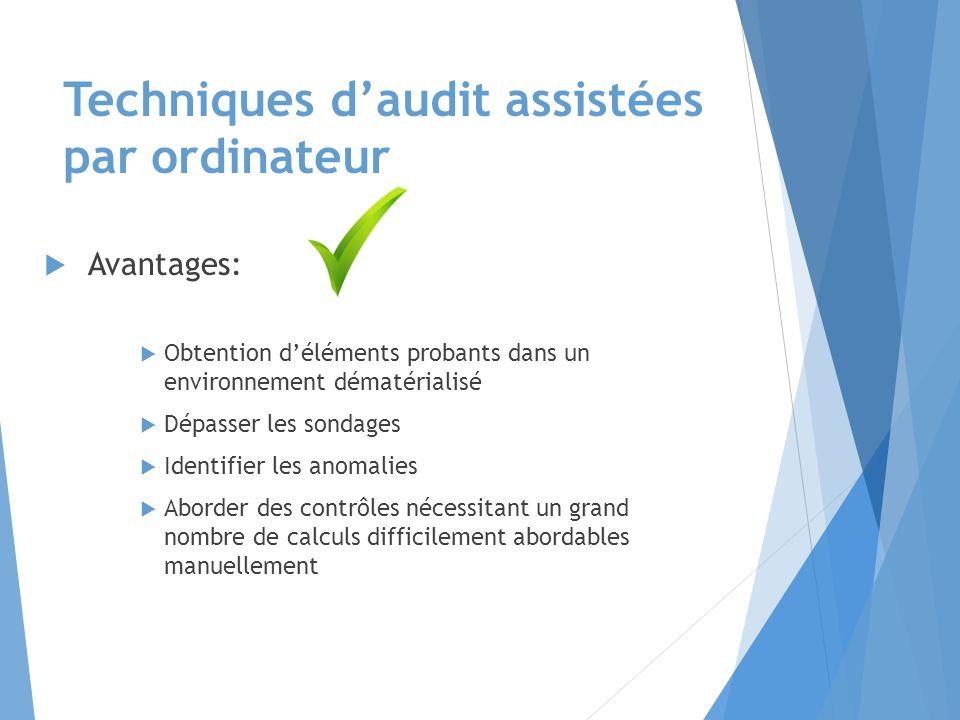 Etapes : techniques d'audit assistés par ordinateur Récupération des fichiers informatiques Validation des fichiers Réalisation des tests, exemple : Loi de Benford Analyse et synthèse