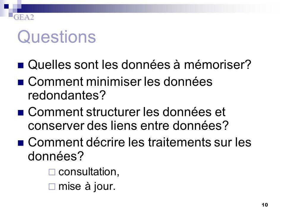 GEA2 10 Questions Quelles sont les données à mémoriser? Comment minimiser les données redondantes? Comment structurer les données et conserver des lie