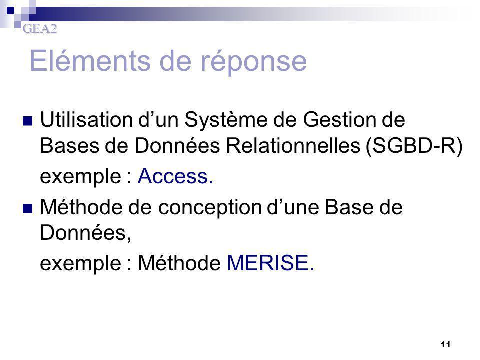 GEA2 11 Eléments de réponse Utilisation d'un Système de Gestion de Bases de Données Relationnelles (SGBD-R) exemple : Access. Méthode de conception d'